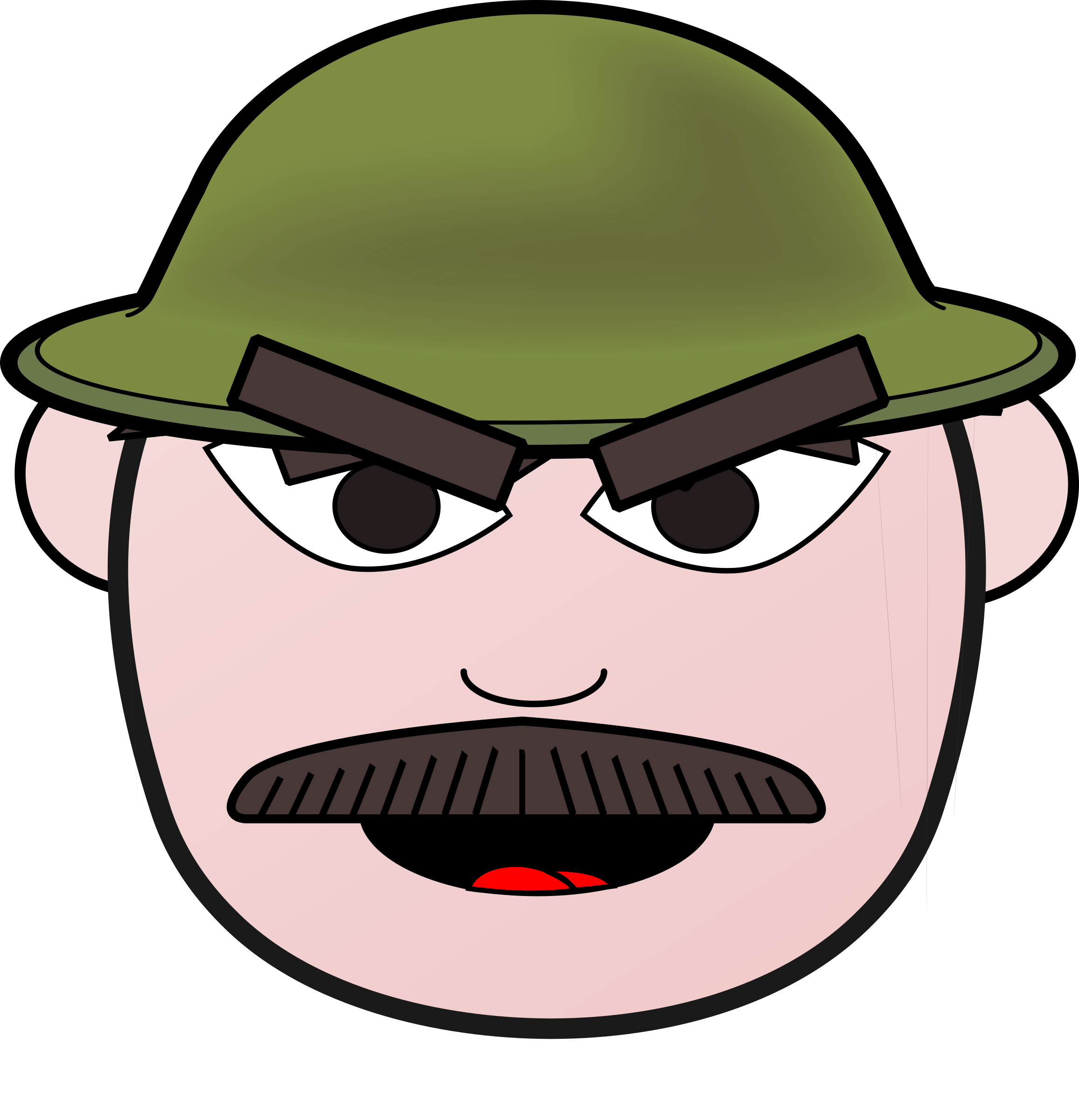 Angry soldier man icons. Mustache clipart man's hat