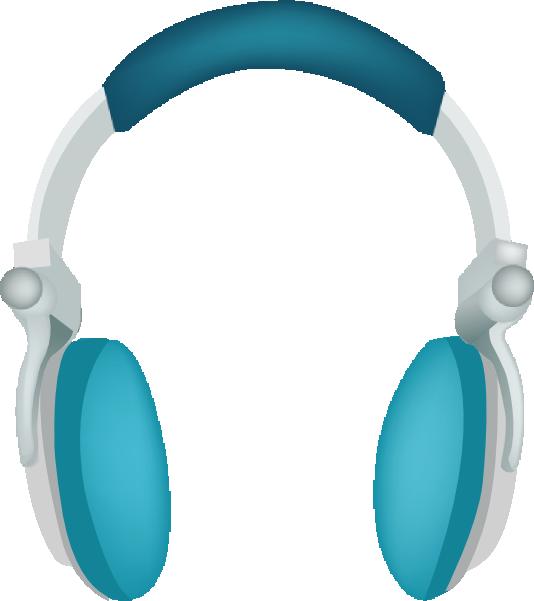 Blue headphones clip art. Color clipart headphone