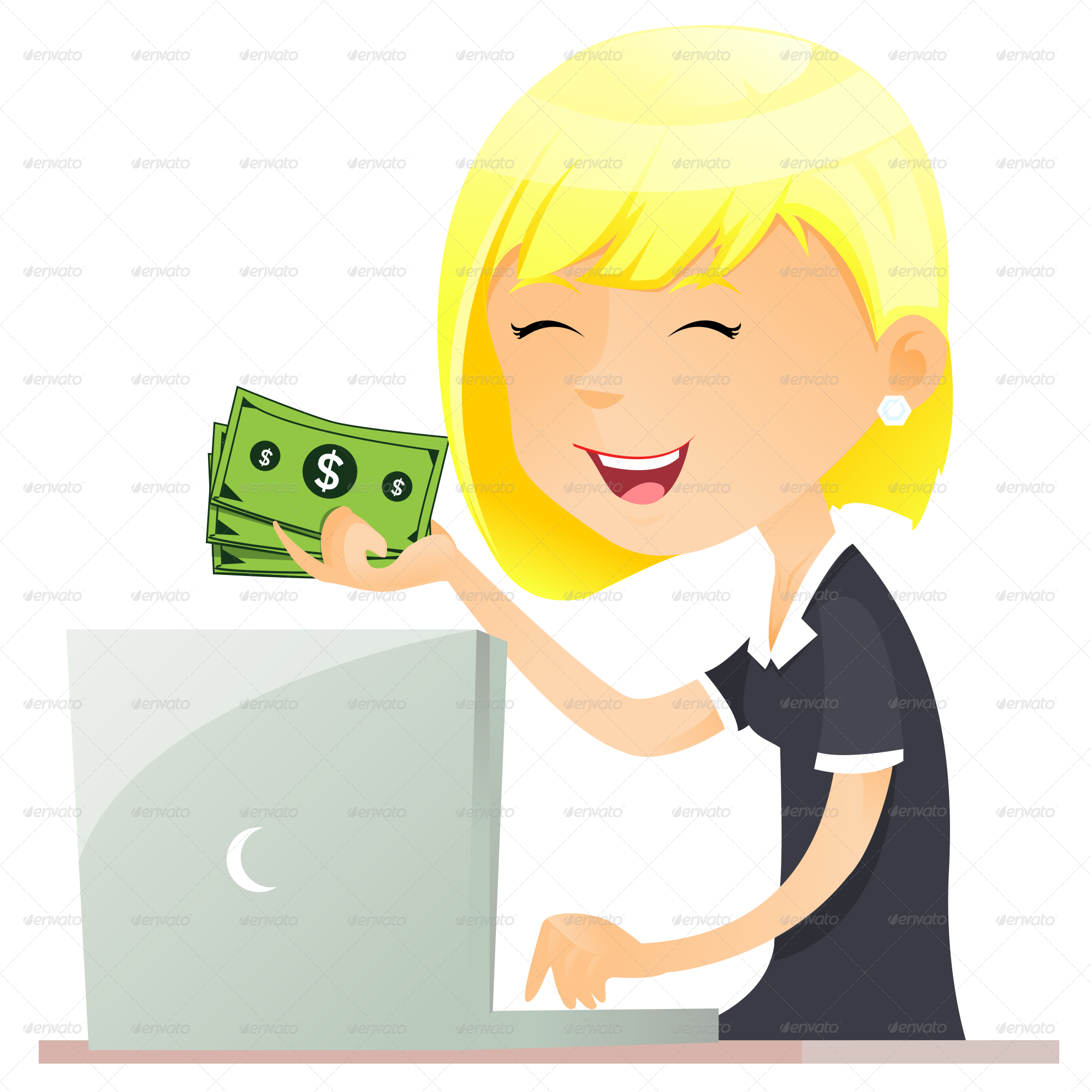With by godesignme graphicriver. Computer clipart business woman