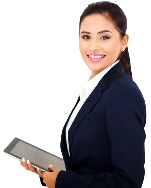 Holding a touch pad. Computer clipart business woman