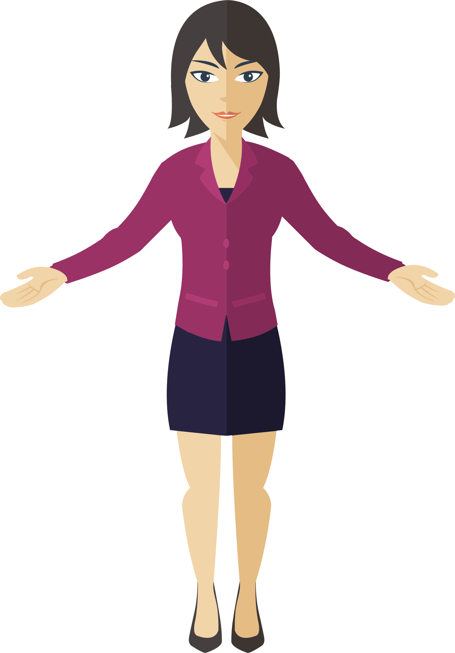 Flat shaded business woman. Female clipart standing