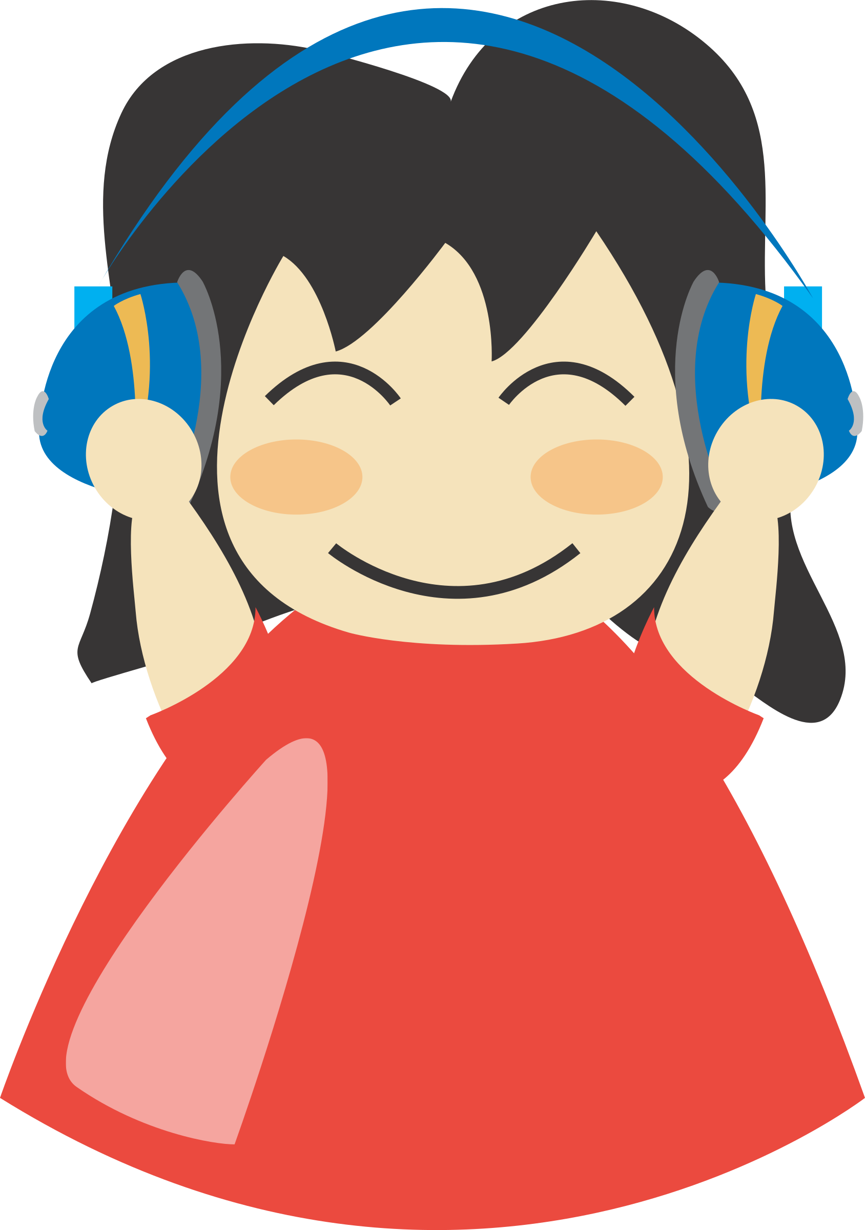 Girl with headphone big. Clipart student listening