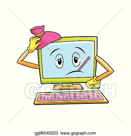 Vector fever . Clipart computer character
