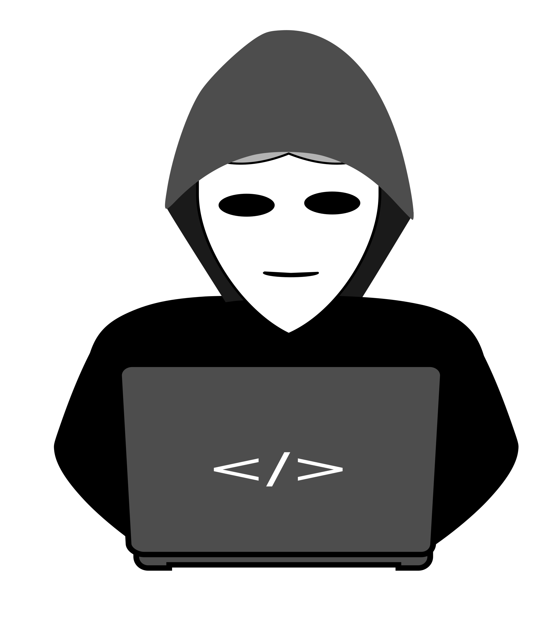 Computer clipart character. Anonymous hacker behind pc