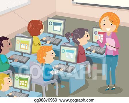 Vector art stickman kids. Clipart computer classroom
