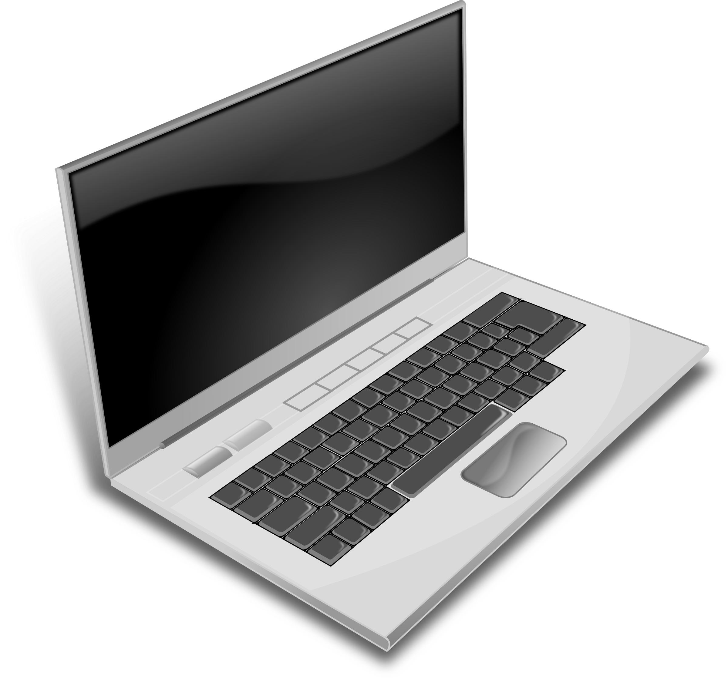 Clipart computer clear background. A gray laptop big