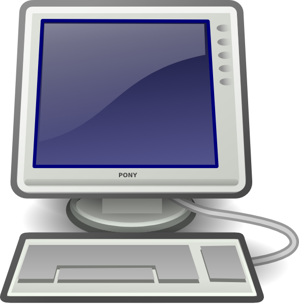 Screen and keyboard clip. Computer clipart computer workstation
