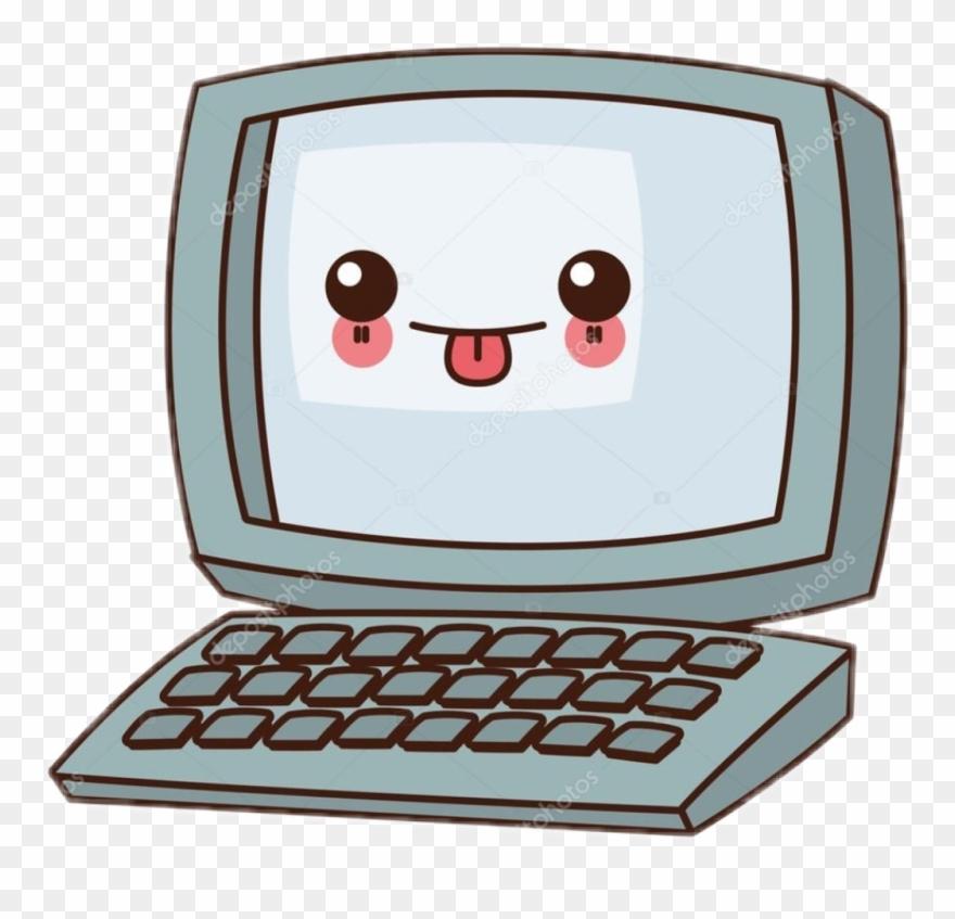 Nalepki kawaii komputer icon. Computer clipart cute