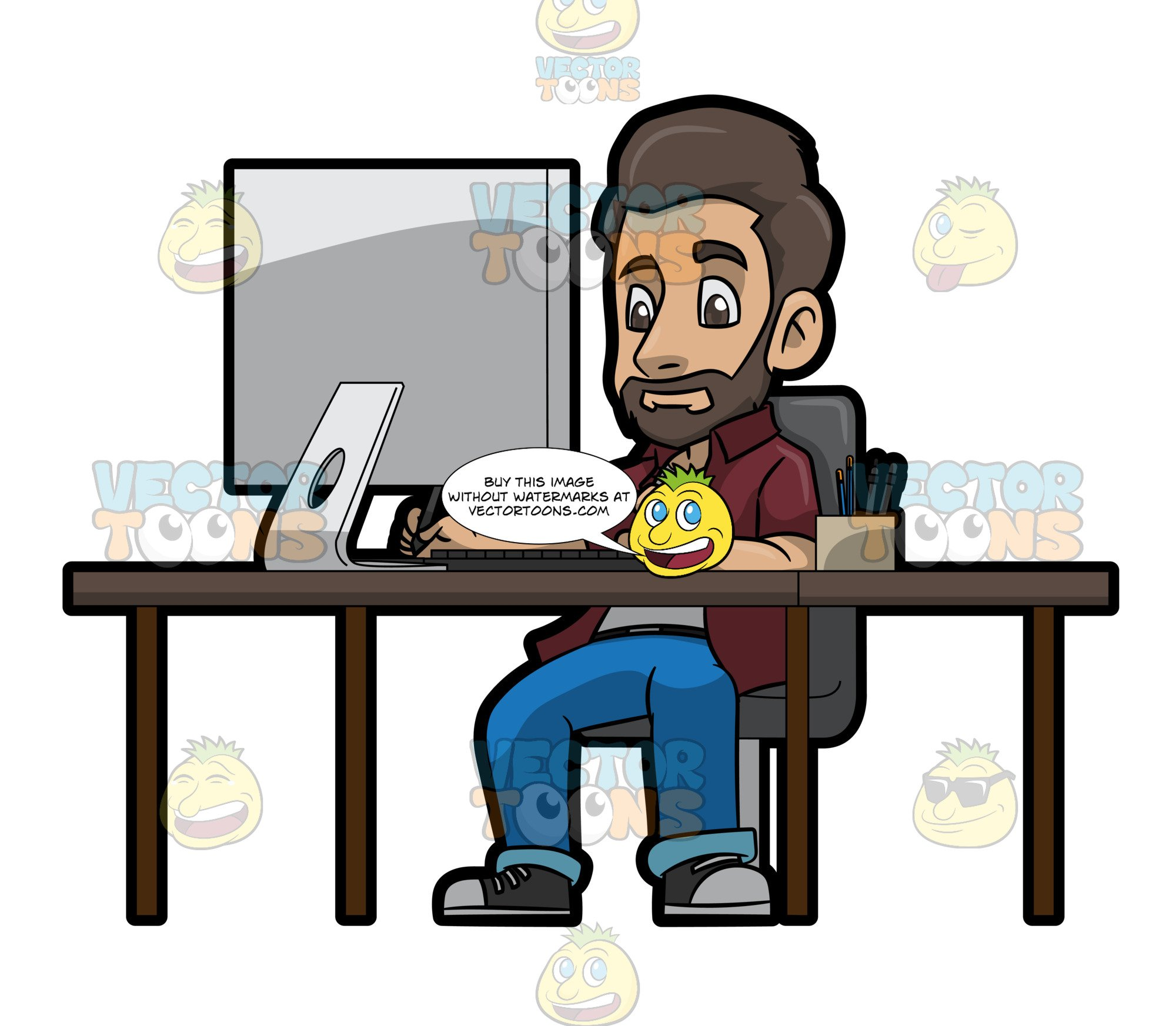 Computers clipart designer. A male graphic working