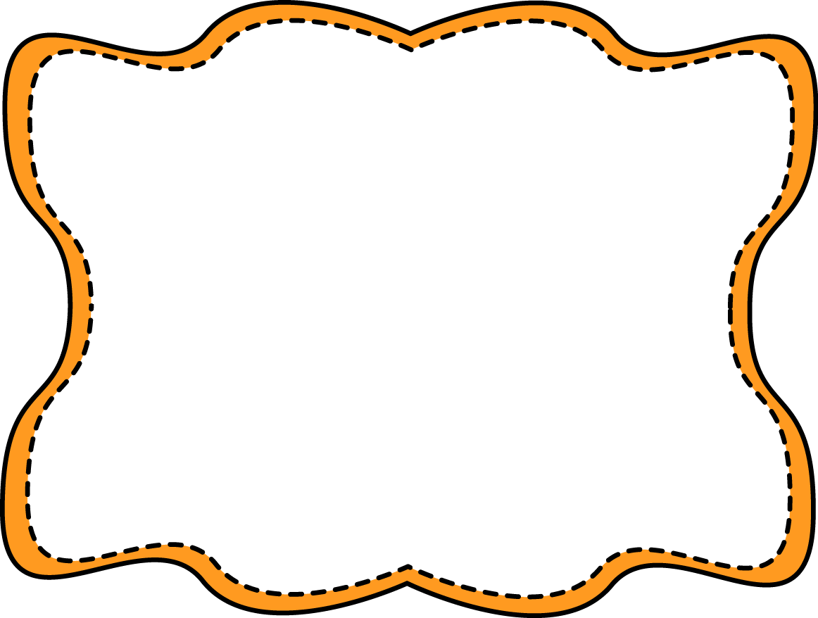 Clipart frames glitter. Orange wavy stitched frame