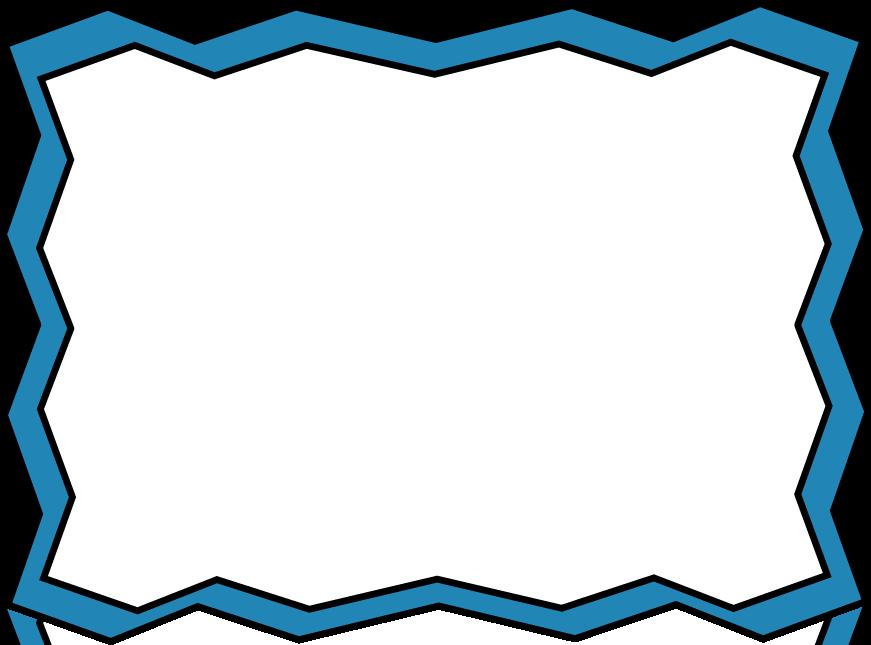 Blue zig zag frame. Shears clipart border