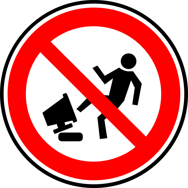 Clipart computer hazard. Do not damage your