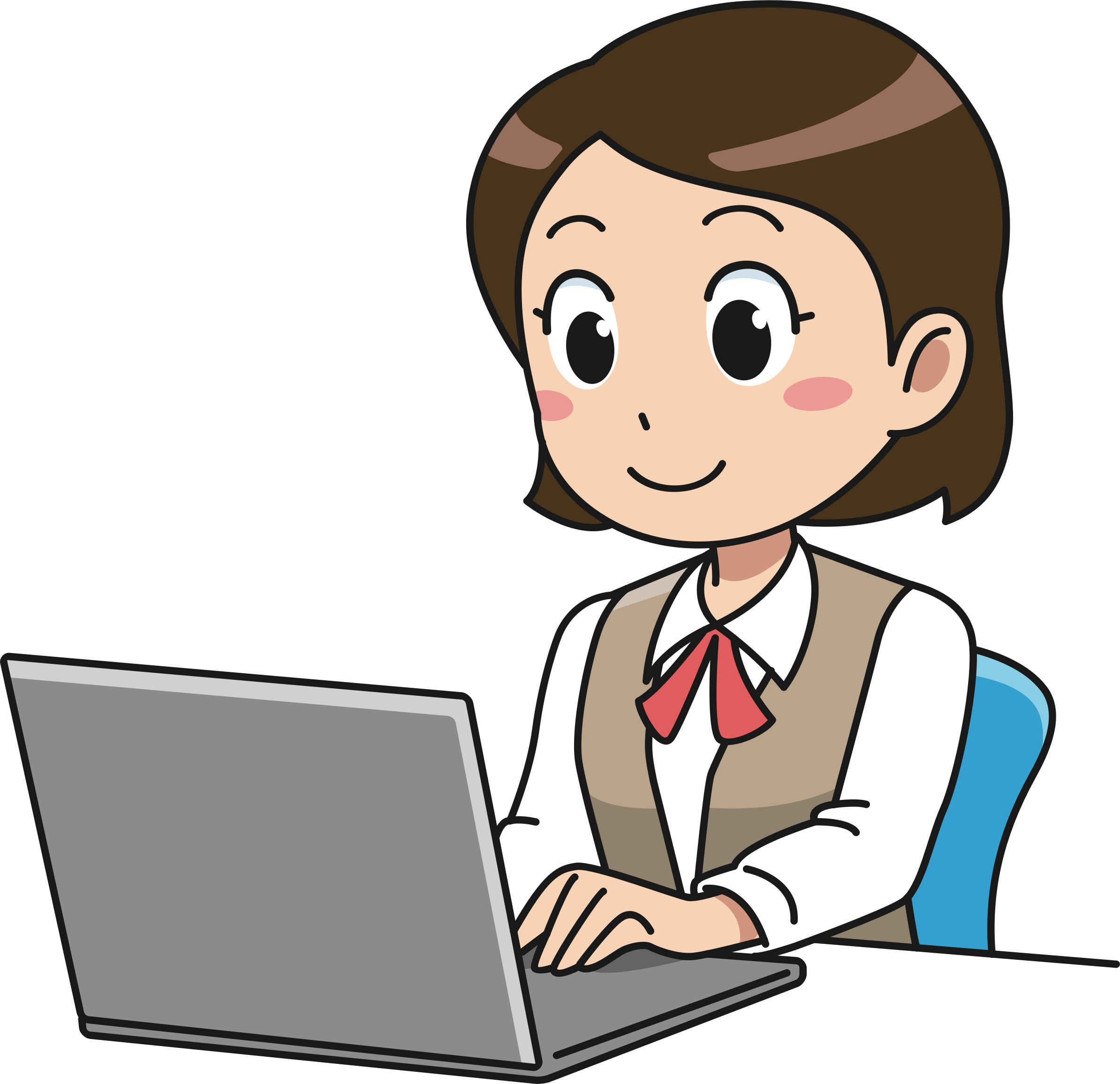 Computer user big image. Person clipart female