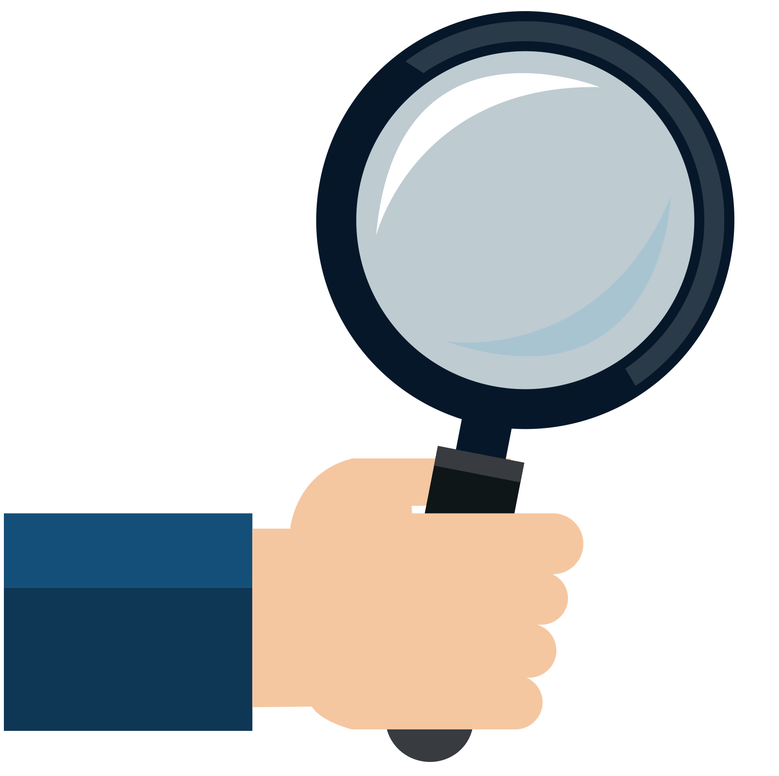 Clipart computer magnifying glass. Mouse hand icon flattened