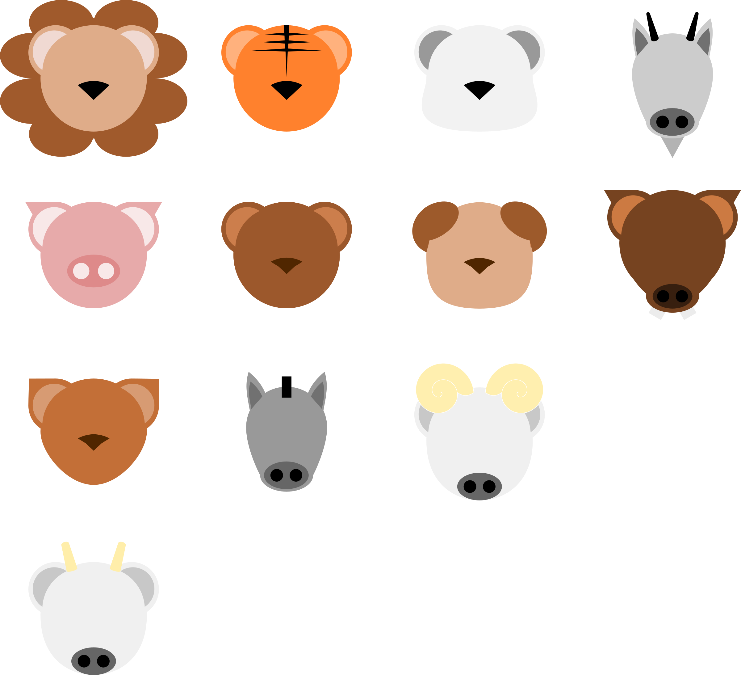 Animal face icons png. Foods clipart minimalist