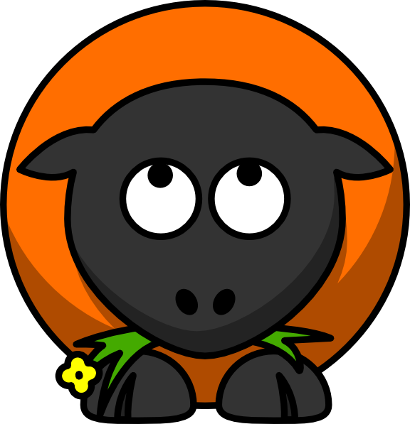 Clipart sheep orange. Cartoon looking up clip