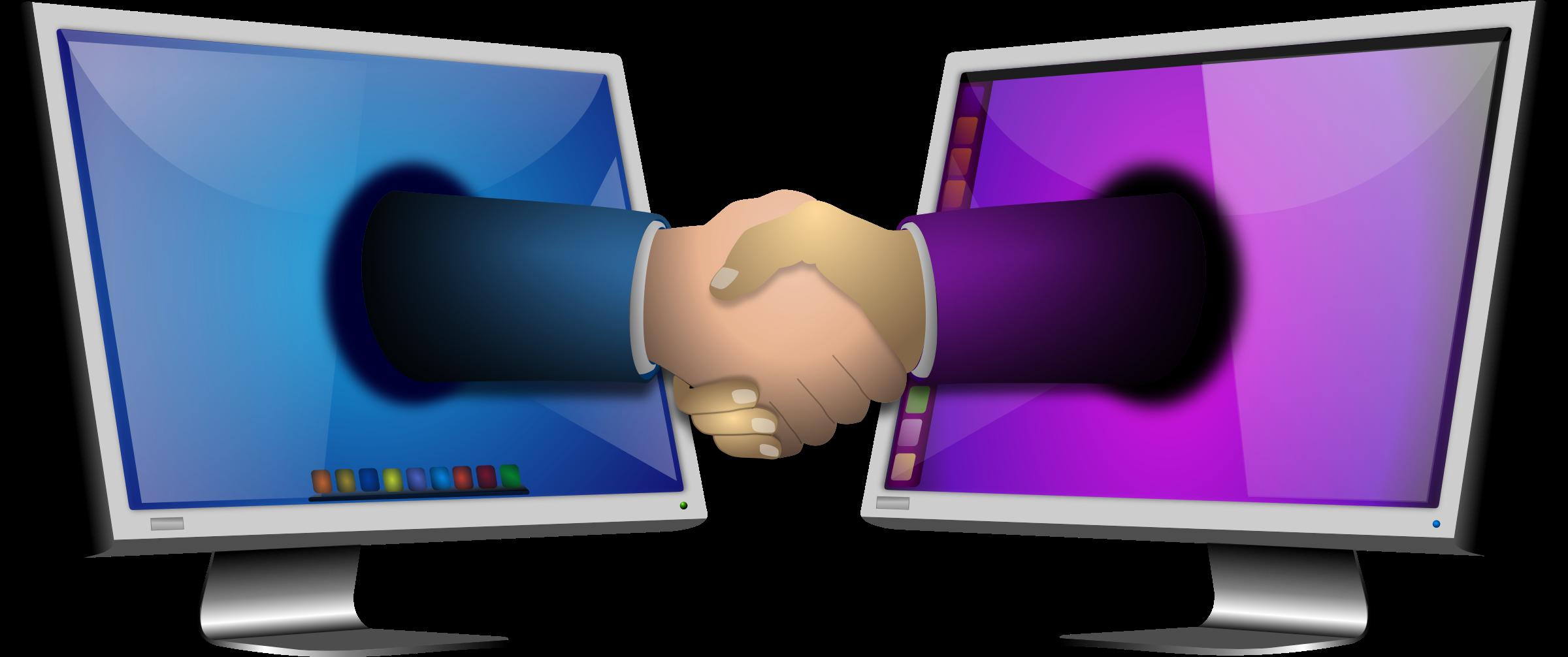 Computer big image png. Handshake clipart support