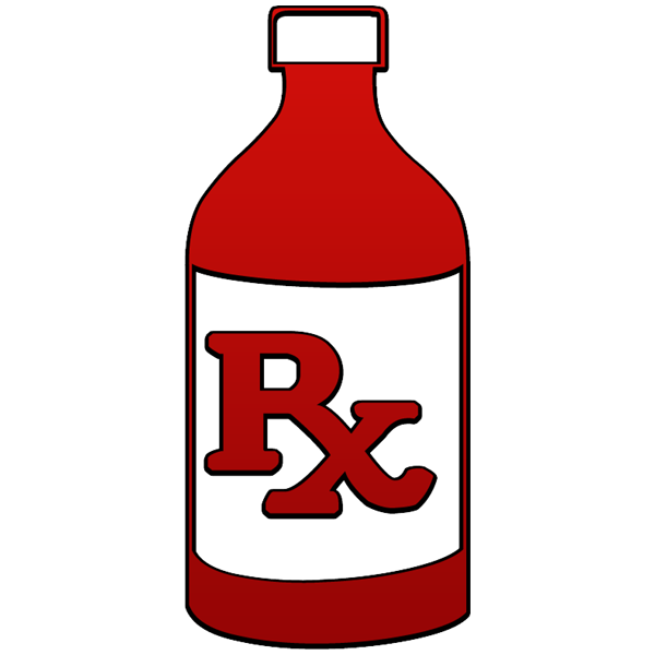 Rx liquid prescription bottle. Clipart computer pharmacist