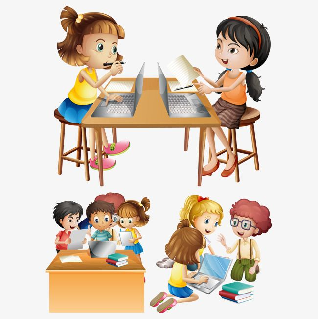 Vector students on the. Preschool clipart computer
