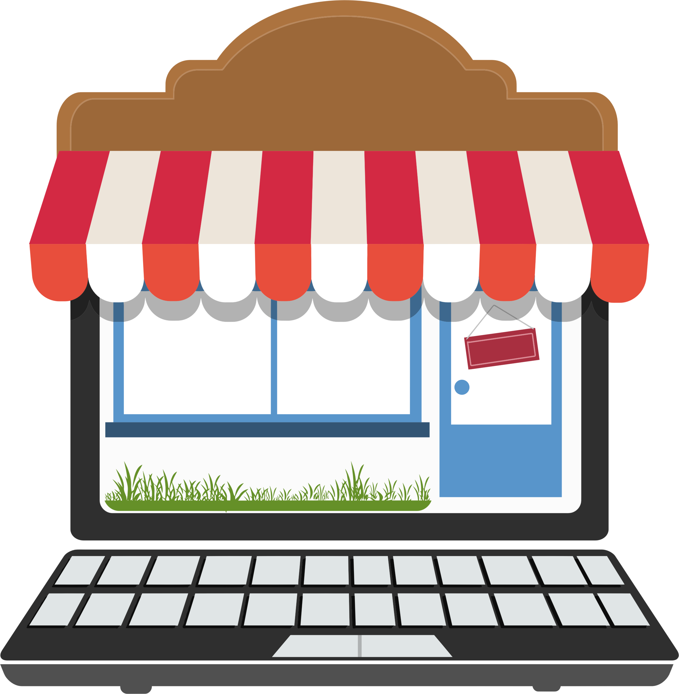 Clipart computer shopping. Online store no signs