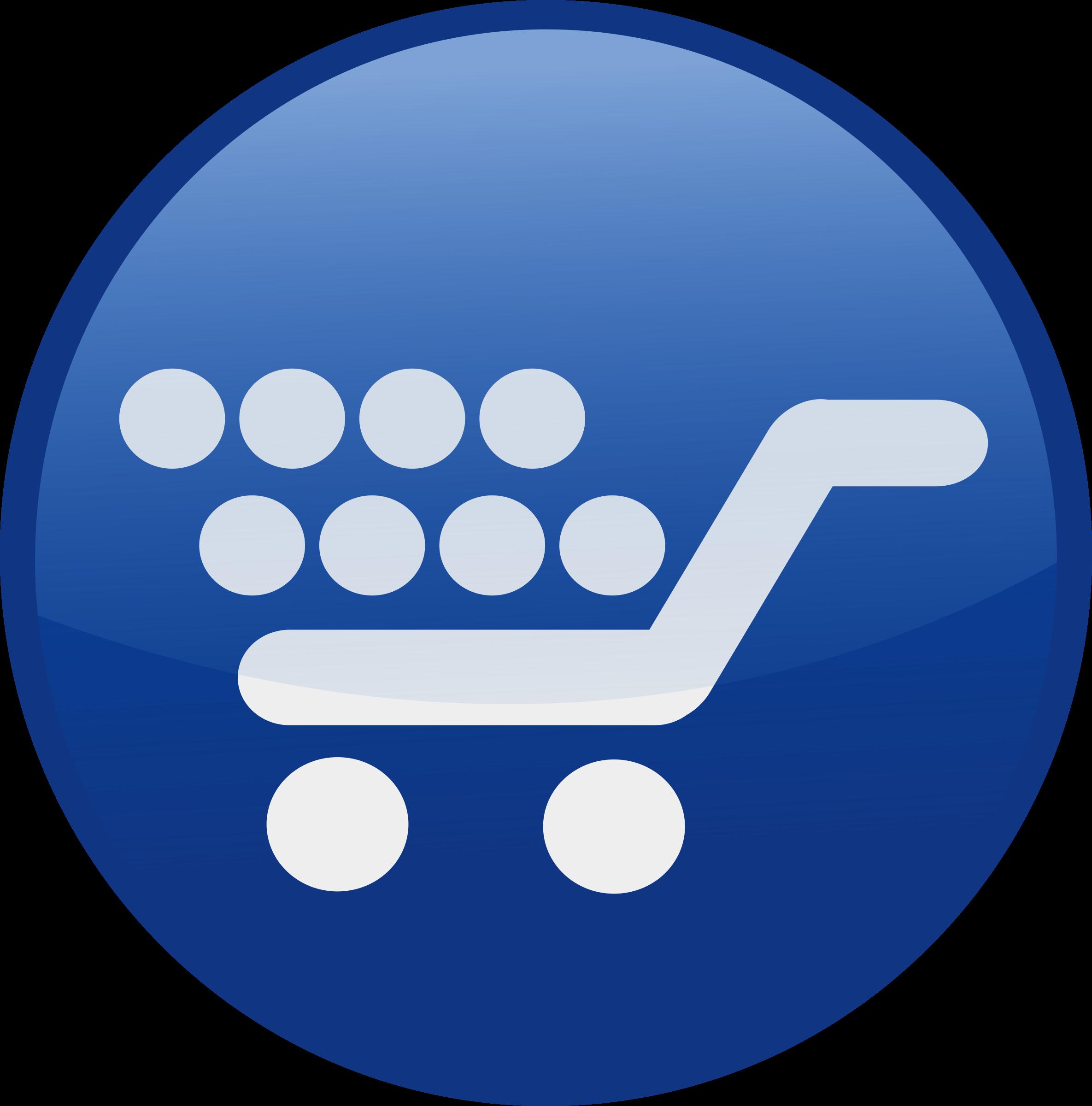 Clipart computer shopping. Cart blue big image
