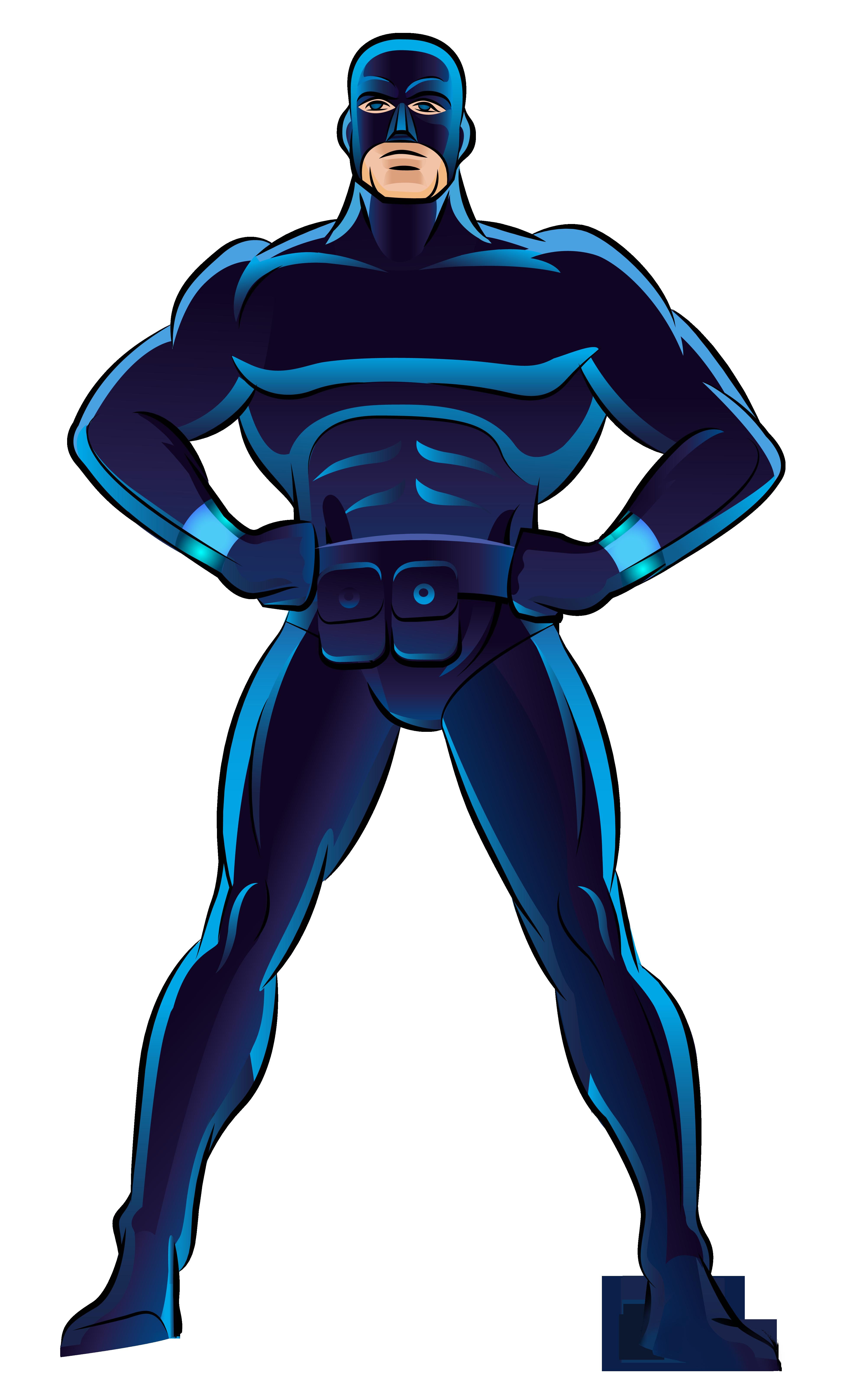 Clock clipart superhero. Blue png clip art