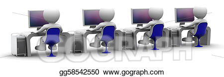 Computers clipart team. Stock illustration of computer