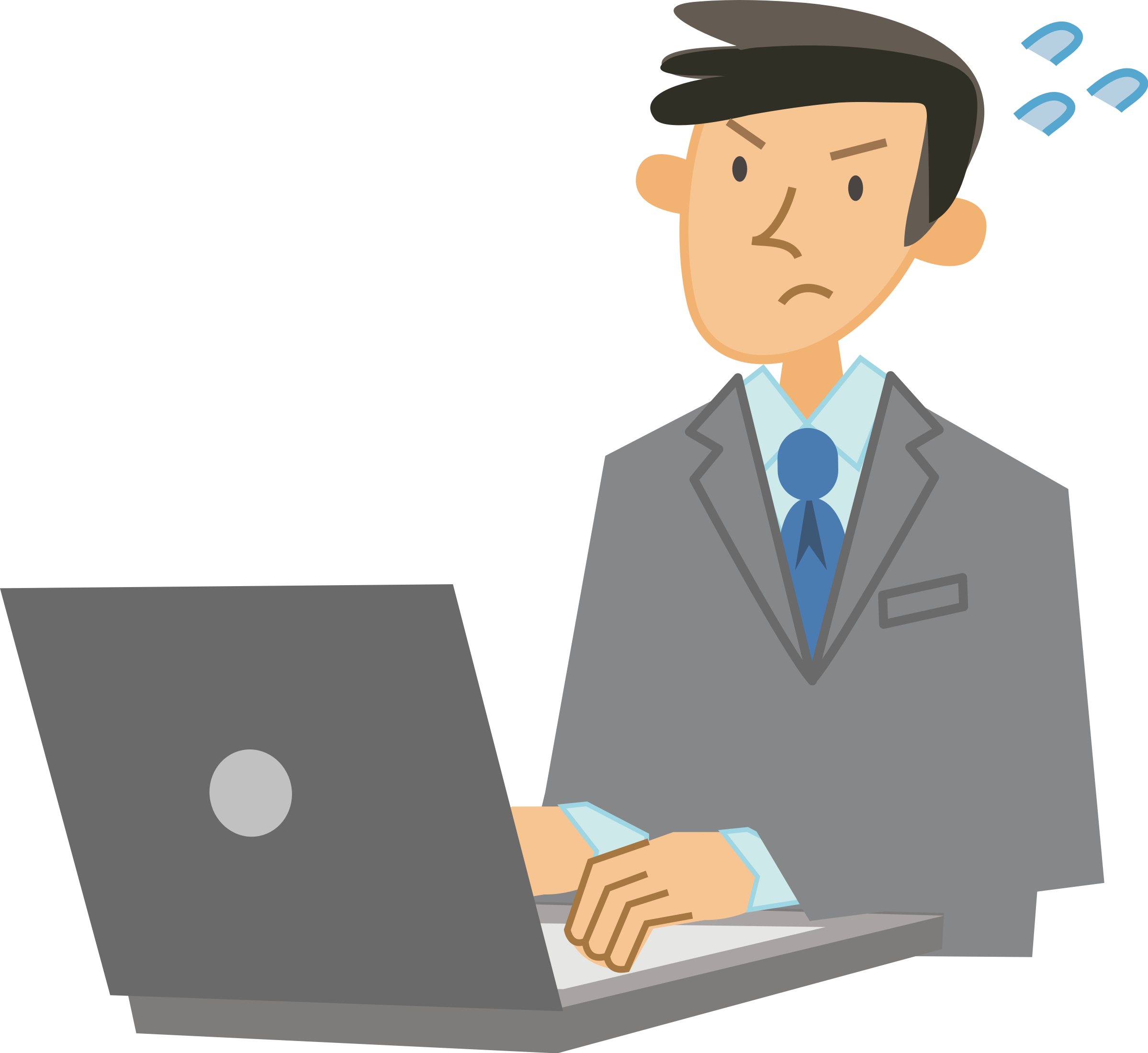 Male user big image. Clipart computer typing