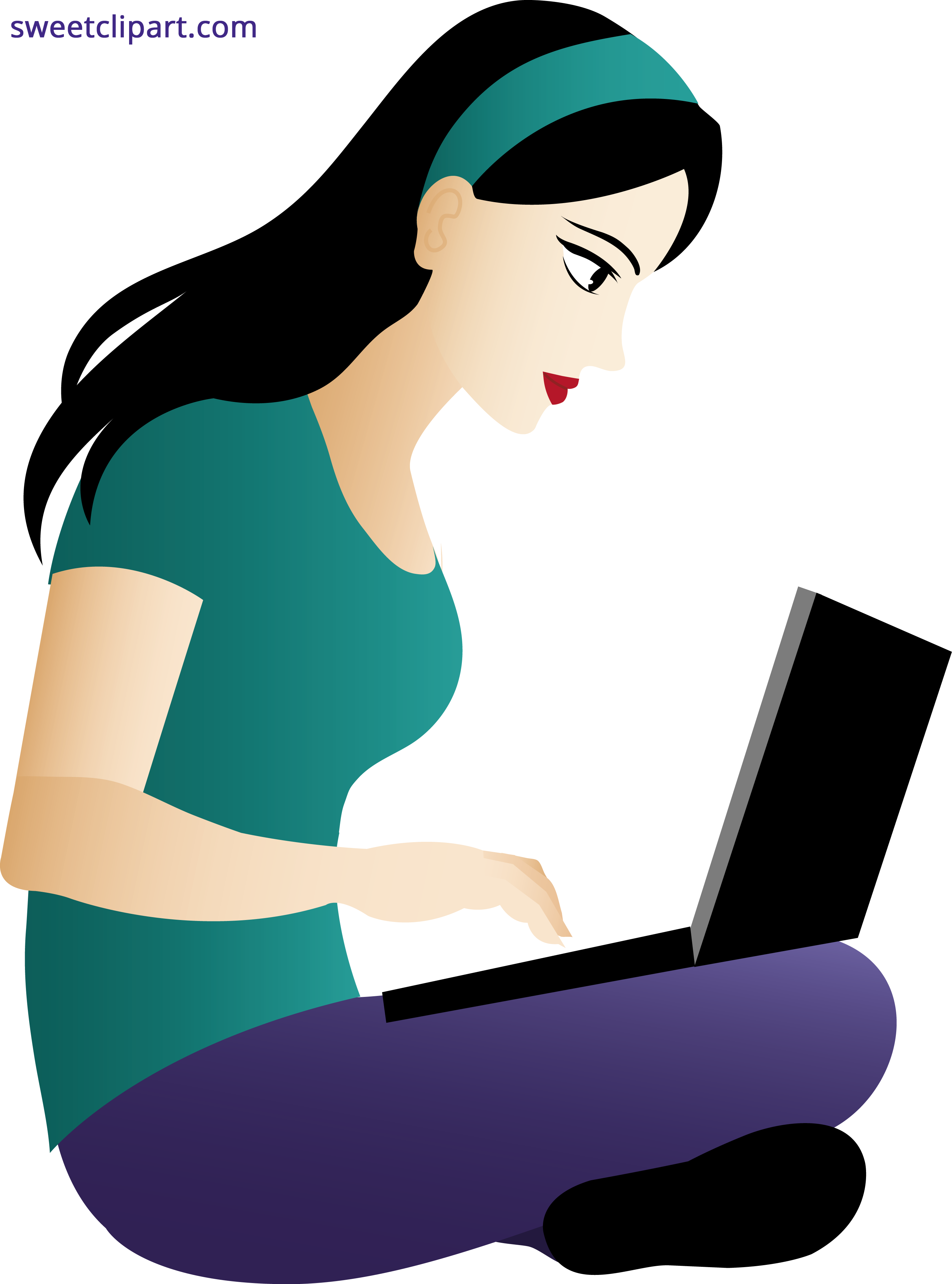 Woman using laptop sweet. Clipart computer typing
