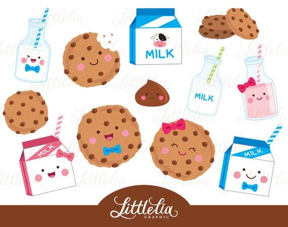 Milk and cookies food. Cookie clipart kawaii
