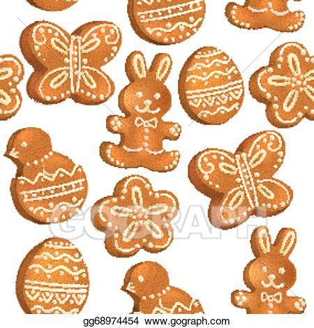 Vector illustration seamless pattern. Clipart easter cookie