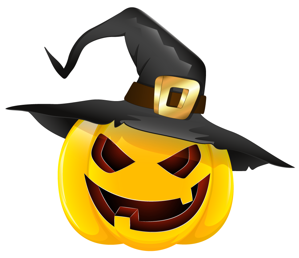 Clipart pumpkin vector. Halloween evil with witch