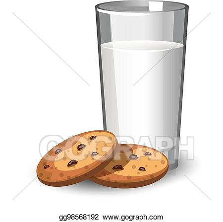 Clipart cookies glass milk. Vector illustration of and