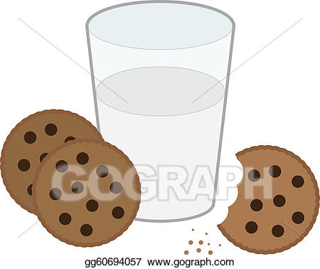 Vector and illustration . Clipart cookies glass milk