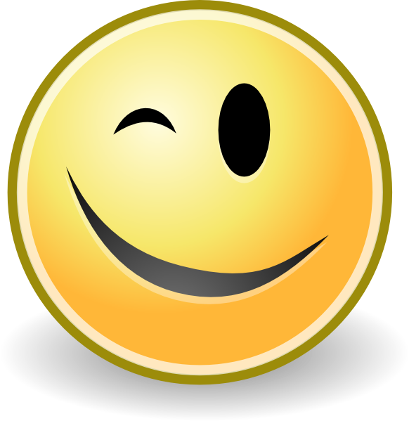 Free wink smiley face. Emoji clipart animation