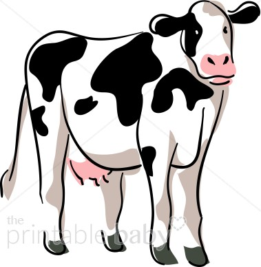 Clipart cow. Stylized barnyard