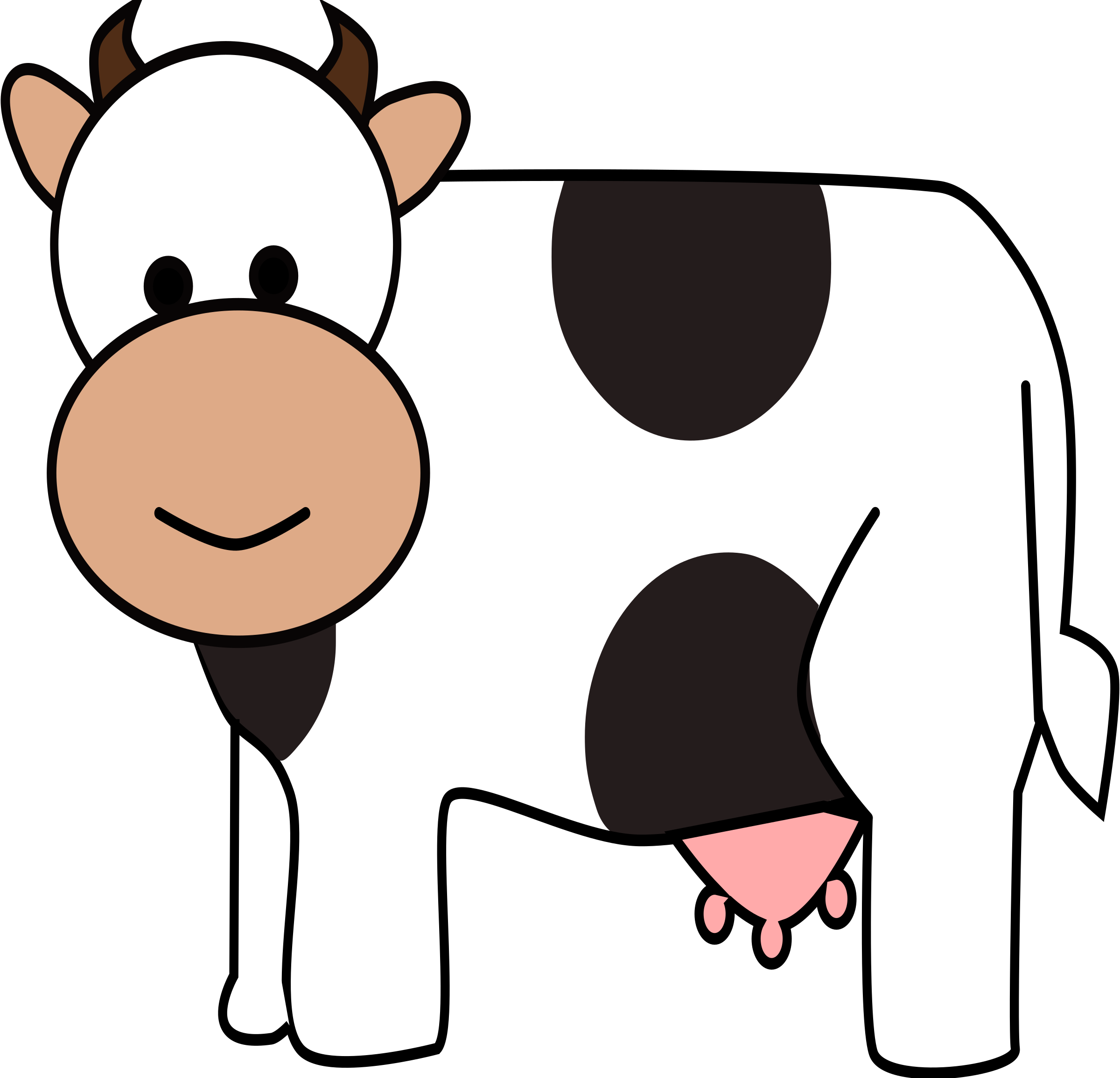 Clipart cow animal. Happy big image png