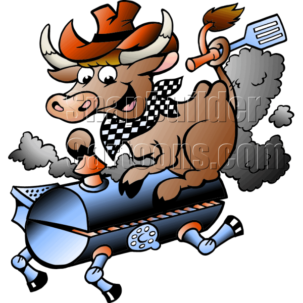 Cows clipart bbq. Grill cow holding a