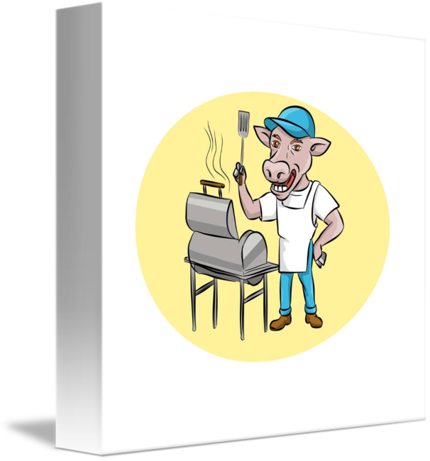 Cow clipart chef. Barbecue smoker oval cartoon