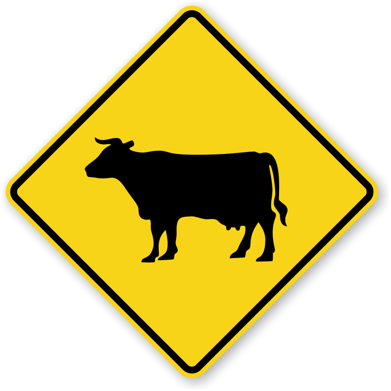 Crossing signs keep gate. Longhorn clipart cattle drive