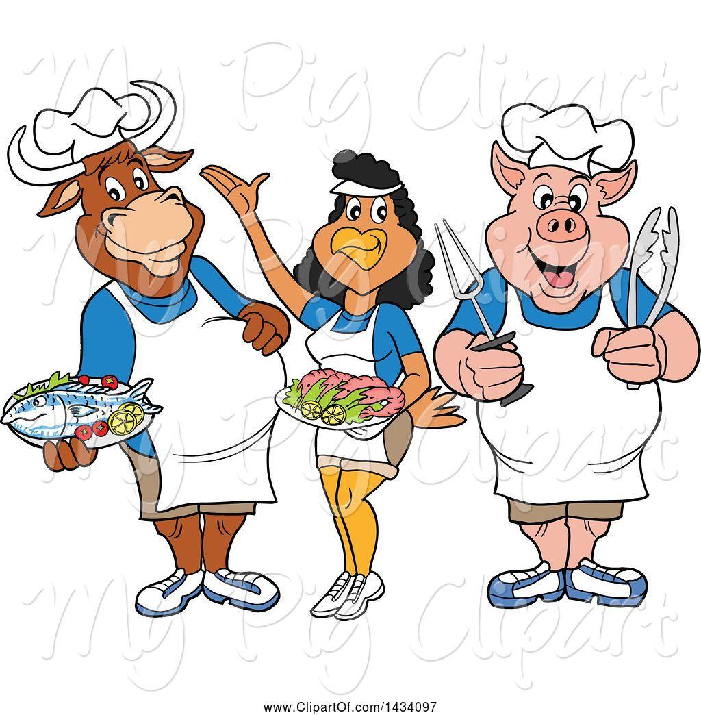 Cow clipart chef. Swine of cartoon chicken