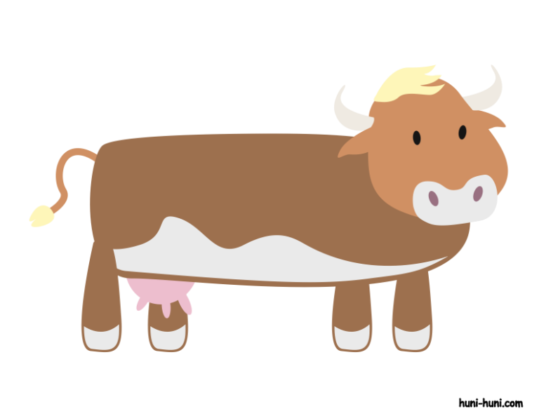 Cow clipart colored. Baka huni hunihuniflashcardcoloredbakacow