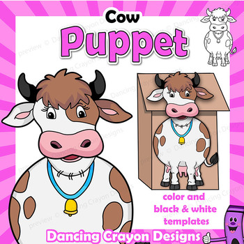 Puppet activity printable paper. Clipart cow craft