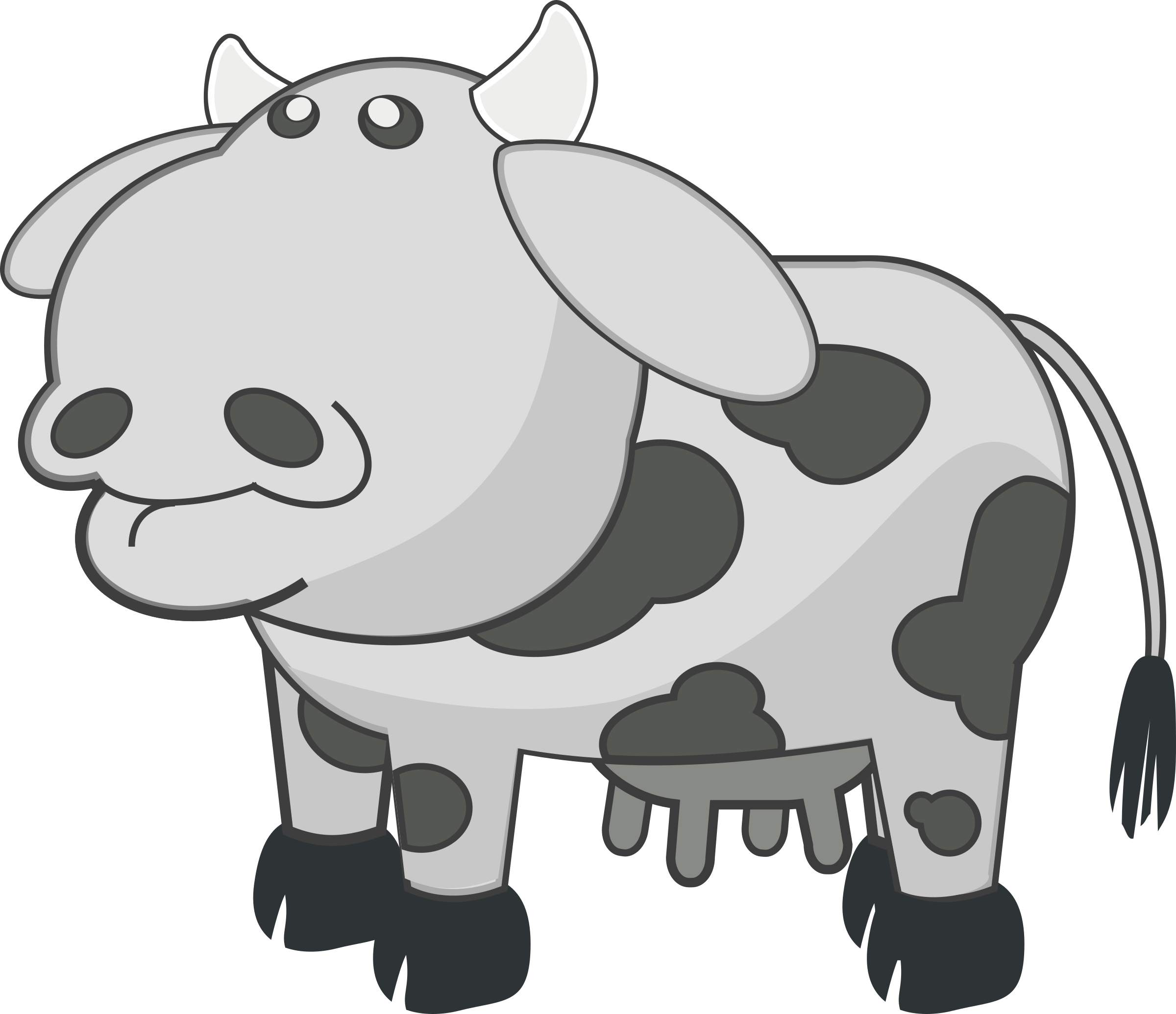 Cows clipart cute. Gray cow big image
