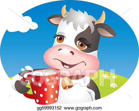 Vector art funny cup. Clipart cow drinking