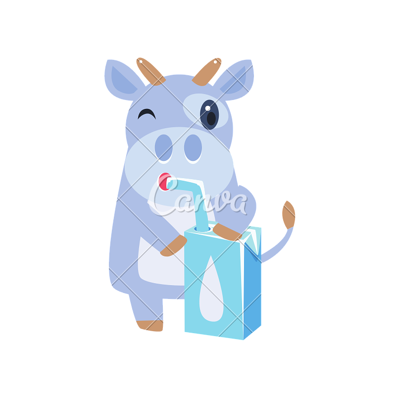 Milk from carton box. Clipart cow drinking
