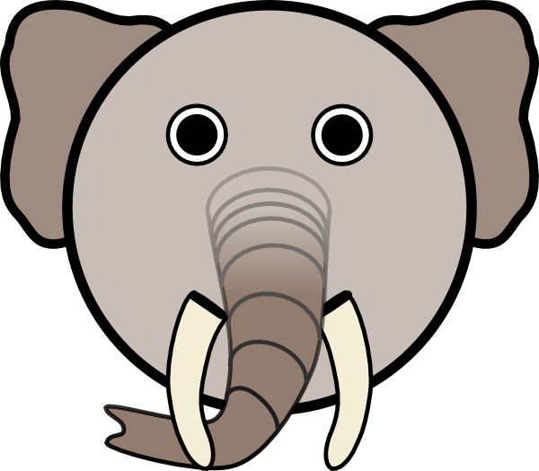 Clipart hippo mask. Elephant with rounded face