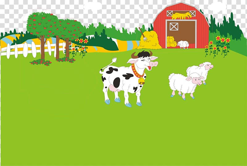 Farmers clipart cattle farming. White and black cow
