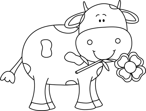 Black and white with. Clipart cow flower