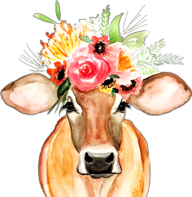 Clipart cow flower. Flowercrown credittorightartist